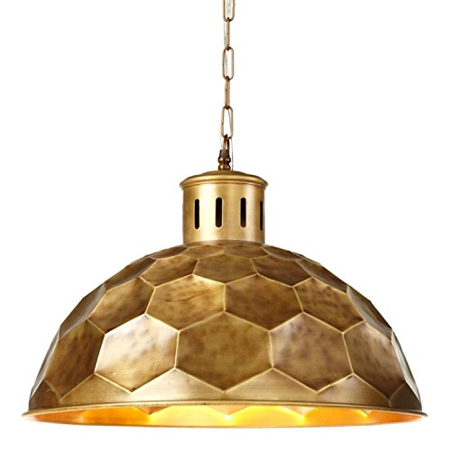 Diva At Home Gold Honeycomb Designed Pendant Plug-in with Hard Wire Kit Included 25