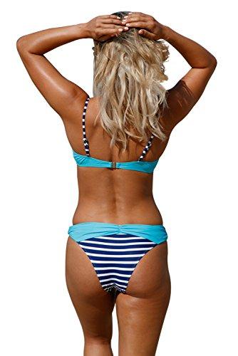 Blau Bügel Badebekleidung Set Romacci Bikini Up Zweiteilige Whoinshop Badeanzug Push Damen Strand