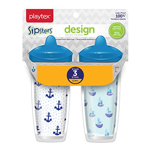 Playtex Sipsters Stage 3 Design Selections Spill-Proof, Leak-Proof, Break-Proof Insulated Spout Cup - 9 Ounce - 2 Count (Color/Theme May Vary)
