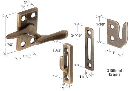 Sash Window Fastener (CRL Antique Brass Casement Sash Lock)