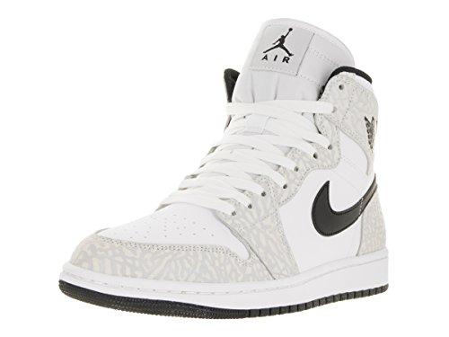 Nike Mænds Air Jordan 1 Midten Basketball Sko Hvid / Sort-rent Platin nMkFgEPR