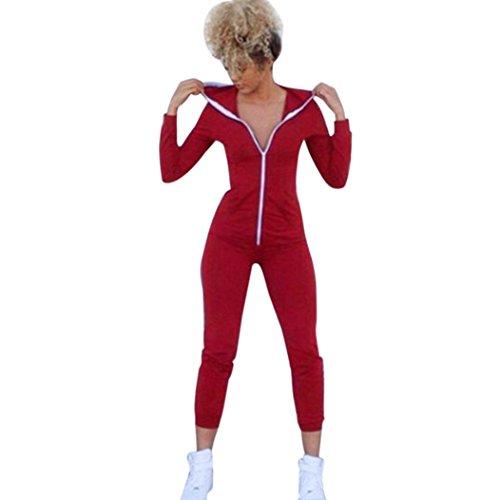 Sport Suit Bodysuit,NOMENI Women Long Sleeve Zipper Hooded Jumpsuits Playsuit (Red, M) (Velour Playsuit)