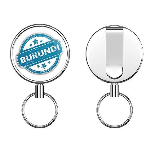 Burundi Grunge Stamp Round ID Badge Key Card Tag Holder Badge Retractable Metal Reel Badge and Key Holder with Belt Clip
