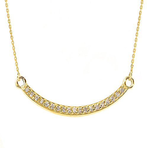 14k Diamond Curves - Exquisite Curved Bar Necklace with Diamond in 14k Yellow Gold, 16