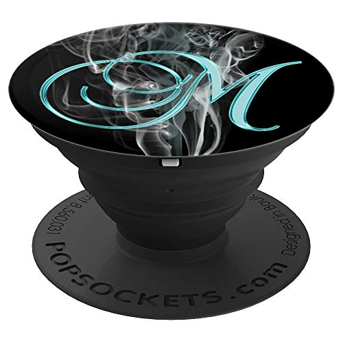 (M Teal Smoke Fire Swirl Grey Black Initial Monogram Letter - PopSockets Grip and Stand for Phones and Tablets)
