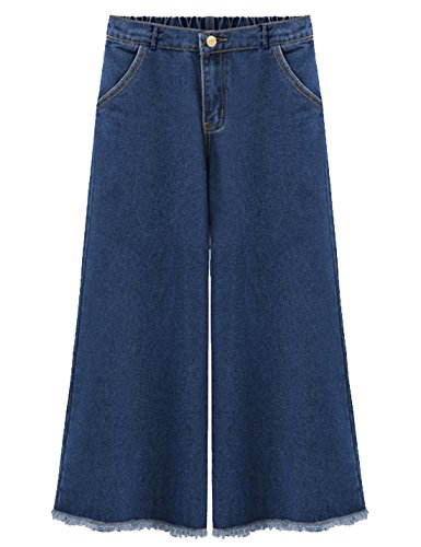 Flygo Women's Elastic Waist Wide Leg Frayed Hem Denim Cropped Jeans Pants (18W-20W, Dark Blue) by Flygo (Image #6)