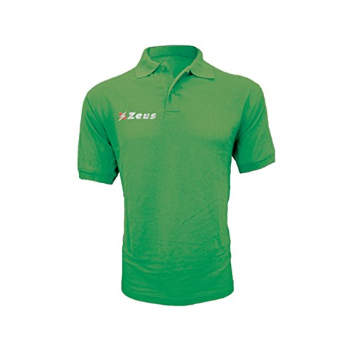 Zeus Herren Polo Shirt Training Fußball Fitness Sport POLO BASIC M/C GRÜN (XL)