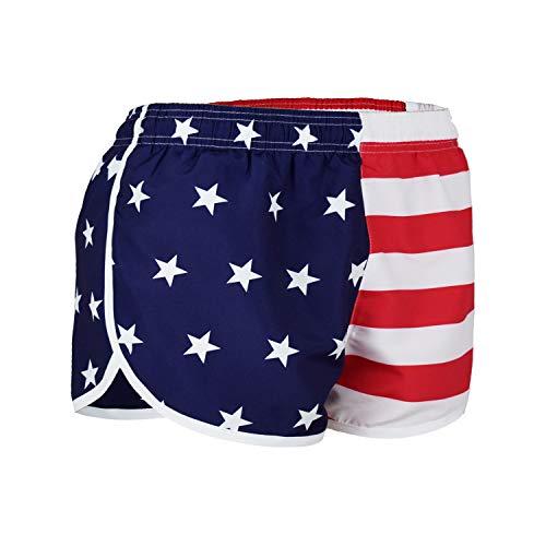 VBRANDED Women's American Flag Side Split Running Shorts Medium Red White Blue (Womens Split Running Shorts)