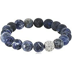 Genuine Gemstone Blue Sodalite Matte Finish 10 mm Stretch with Sterling Silver Pave Cubic Zirconia Accent Bead Bracelet, 6.5""