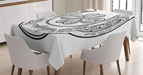 - Ambesonne Clover Tablecloth, Good Luck Themed Illustration of Shamrock and Horseshoe Engraved Style, Dining Room Kitchen Rectangular Table Cover, 60 W X 90 L Inches, Charcoal Grey and White