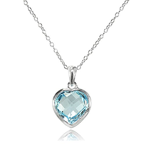 Sterling Silver Blue Topaz 10mm Bezel-Set Heart Pendant - Shaped Topaz Pendant Briolette Blue