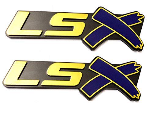 2 pcs LSX Emblem Badge 3D Self-adhesive Nameplate Sticker Replacement for Chevy Camaro Corvette LS LT ZL SS Silverado (Gold blue)