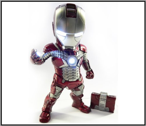"""Iron Man Suits From Iron Man 3 (Kids Logic Egg Attack Iron Man Mark V armor Suit from Iron Man 2 """"Iron Baby"""" EA-002 7"""" Lights up Statue with Suitcase)"""