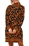 PRETTYGARDEN Women's Fashion Leopard Print Lantern Long Sleeve Turtleneck Chunky Long Loose Knitted Pullover Sweater Dress (Coffee, Medium)