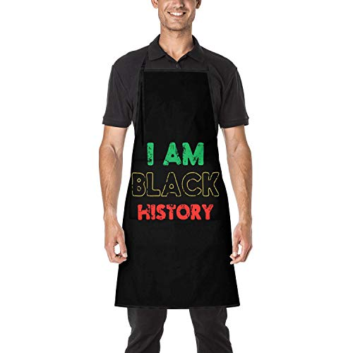 Black History Month I Am Black History Unisex Adjustable Apron Durable Kitchen Apron with Pockets for Women Men Chef
