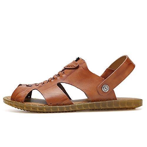 Zapatos Ocasionales Cuero Planas Zapatillas Respaldo de Playa de Antideslizantes Hombres Sandalias Ajustables Summan los Transpirables Marrón Genuino de de sin Suaves 1qtwanWqv