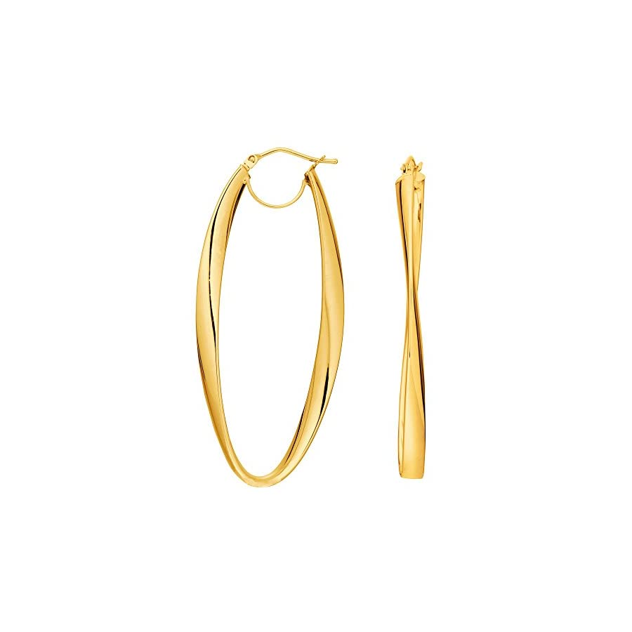 14K Gold 2mm Shiny Wavy Hoop Earrings