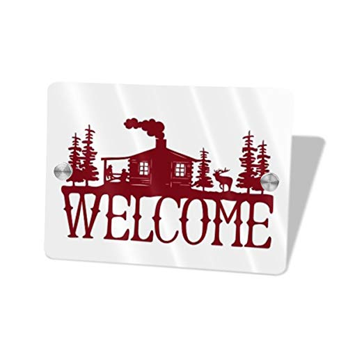 Bomini Sign for Front Door Signs Welcome Red Address Wall Plaque Welcome Hello Rectangle House for Shop Outdoor Decorative ()