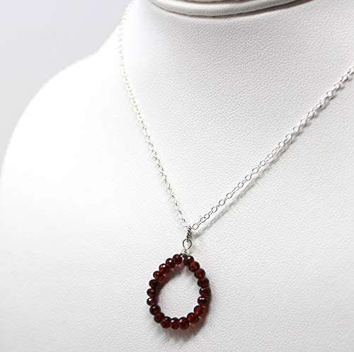 (Faceted Circle Garnet Necklace Sterling Silver Red Gemstone Pendant 18 Inches)