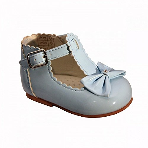 sevva Sally bebé niña primera Walking zapatos con barra en T, lazo y diamante detalle a la delantera. Disponible en tamaños UK 2 –