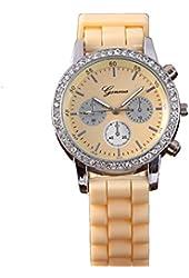Geneva Yellow Silicone Wristband Rhinestone Women's Quartz Watch