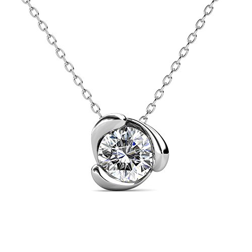Necklace Crystal Swarovski Lariat (Cate & Chloe Harmony Peaceful Solitaire Pendant Necklace, Women's 18k White Gold Plated Necklace with a Sparkling Solitaire Round Cut Swarovski Crystal, Silver Pendant Necklace for Women, MSRP - 119)