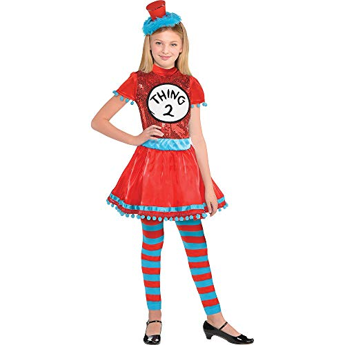 Costumes USA Dr. Seuss Thing 1 and Thing 2 Halloween Dress Costume for Girls, Small, with Included Accessories (Thing 1 And Thing 2 Costumes For Girls)