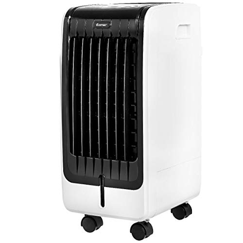 COSTWAY Evaporative Air Cooler with Fan & Humidifier Portable Bladeless Quiet Electric Fan w/Remote Control (24.5