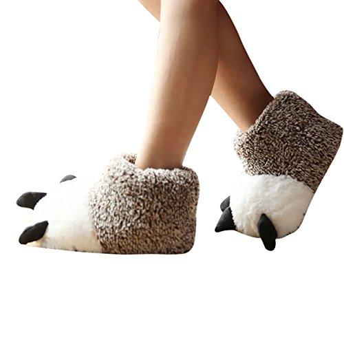 TININNA Unisex Weichem Plüsch Pfote Pantoffel Hausschuhe Cosplay Kostüm Tier Pfote Klaue Schuhe Hausschuhe Slipper Winter Schlappen für Kinder Erwachsene Braun