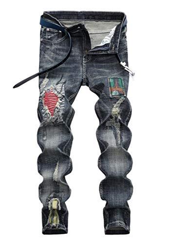 Amoystyle Men's Fashion Biker Jeans Retro Blue 9702 Asian 40 (Designer Retro Clothing)