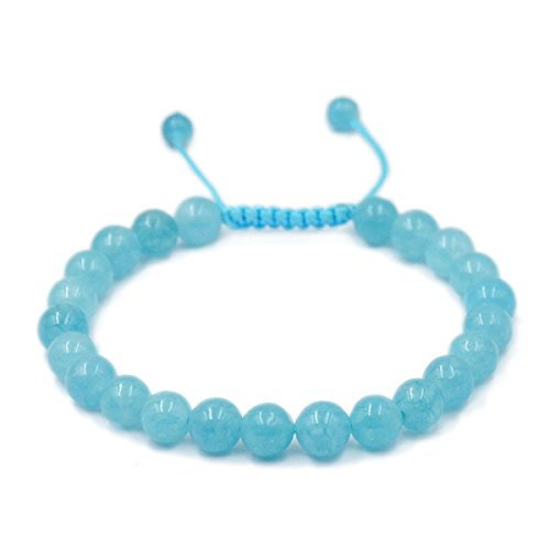 AD Beads Natural 8mm Gemstone Bracelets Healing Power Crystal Macrame Adjustable 7-9 Inch (Aquamarine) (Aquamarine Crystal Healing)