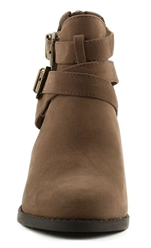 Sides Bootie Scribe Soda Heel Women's Cut Ankle Block Brown Out Hq4FP