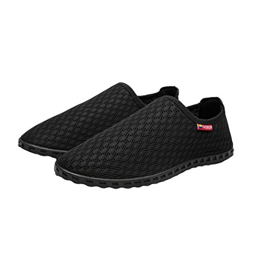 Beach Casual Fashion Outdoor Round Out Breathable Hollow Mesh HLHN Loafers Comfort Shoes Men Flat Toe Black Driving TH6FwS7q