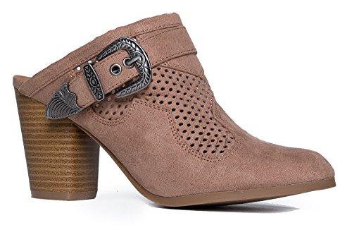 e - Comfortable Everyday Slip On Heel - Trendy Cute Buckle Slipper Shoe ()
