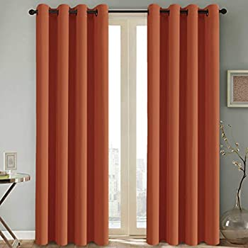 H.VERSAILTEX Thermal Insulated Blackout Room Darkening Nursery/Baby Care Curtains,Grommet Panels,52 by 84 - Inch - Burnt Orange - Set of 2