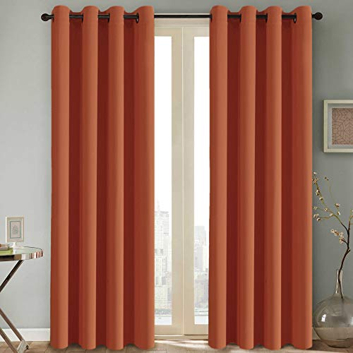 H.VERSAILTEX Thermal Insulated Blackout Room Darkening Nursery/Baby Care Curtains,Grommet Panels,52 by 84 - Inch - Burnt Orange - Set of 2 (Burnt Curtains Orange Blackout)