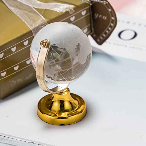 (MarshLing Round Earth Globe Crystal World Map Glass Sphere Ball Table Ornaments Crafts Art Cute Clear 6.54.54.5cm Home Decoration Perfect Quality Gold)