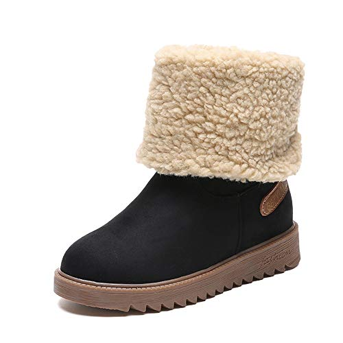 Women Winter Warm Anti-Slip Short Boots, NDGDA Cotton Booties Waterproof Slip On Warm Fur Lined Sneaker (Black, ()