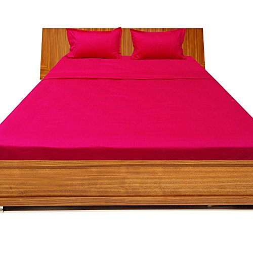 Relaxare Short King 300TC 100% Egyptian Cotton Hot Pink Solid 4PCs WaterBed Sheet Solid (Pocket Size: 21 (Dwell Fitted Sheet)