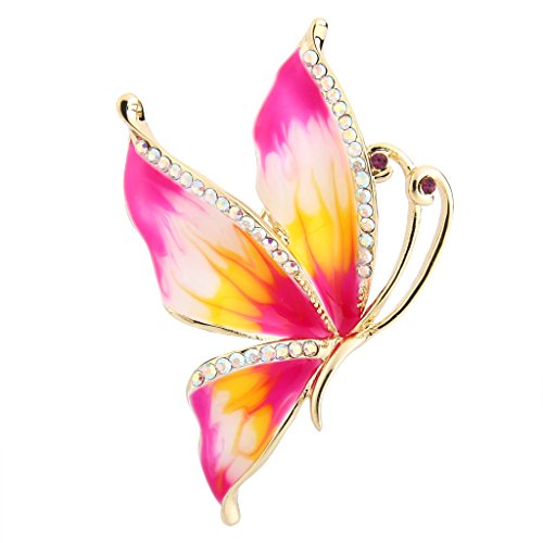 (EVER FAITH Women's Austrian Crystal Enamel Elegant Butterfly Insect Brooch Pin Pink Gold-Tone)