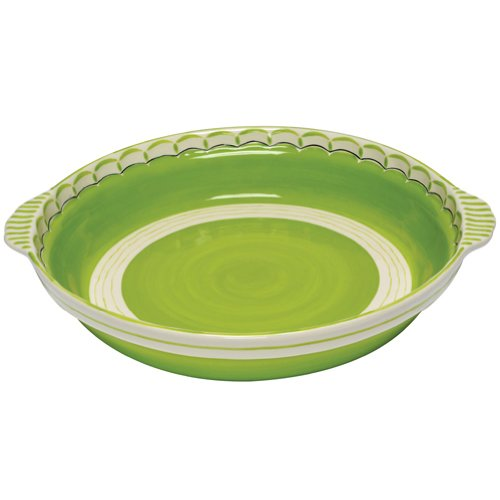 Caffco International MB6445803FLIMEGR02 M.Bagwell Collection Ceramic Casserole Dish, Lime Green and Cream