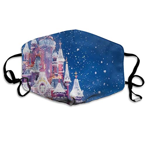 - YUIOP Castle in Snow Printed Mask Neutral Mask for Men and Women Polyester Dust-Proof Breathable Mask