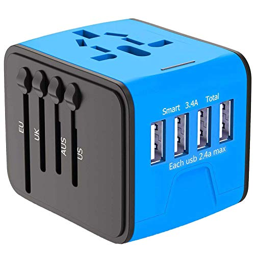 APzek Travel Adapter, International Power Adapter with 4 USB Ports, European Adapter, Universal Travel Adapter Worldwide AC Outlet Plugs Travel Charger for Europe UK US AU Asia (Blue 4Usb)