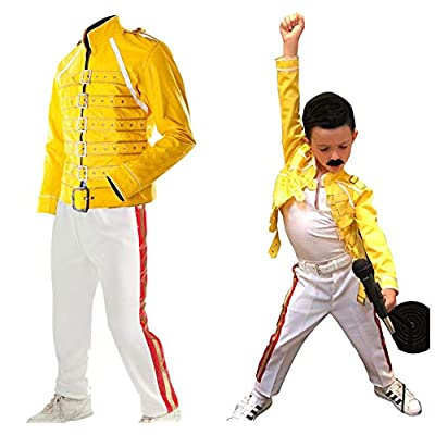 LP-FACON Kids Wembley Concert Freddie Mercury Costume Jacket Pants Faux Leather Halloween Apparel: Clothing