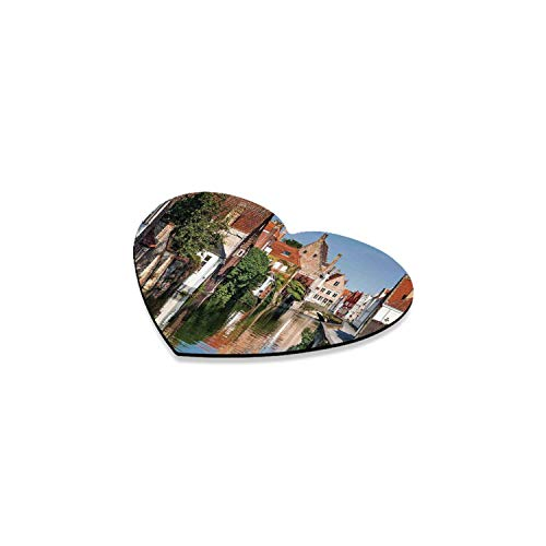 Cityscape Romantic Heart Coaster,Vivid Scenery with Water Canal in Bruges Old Town European Fairy Heritage Decor for Home,4