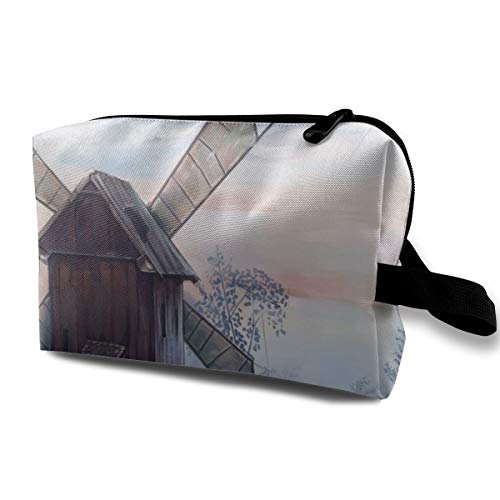 Storage Bag Travel Pouch Watercolor Windmill Print Purse Organizer Power Bank Data Wire Cosmetic Stationery Holder