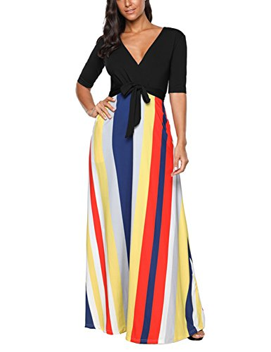 DANALA Women V-Neck Colorful Stripe Maxi Dress Half Sleeve Rainbow Swing Dress Black L