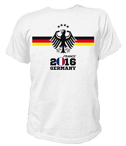 Artdiktat Herren Deutschland Fan T-Shirt - EM 2016 Frankreich - Trikot Ersatz - inkl. Wunschname und Nummer S - 5XL Größe 5XL, weiß