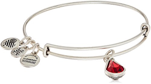 Alex and Ani July Birth Month Charm with Swarovski Crystal Rafaelian Silver Bangle Bracelet (Ruby Silver Bangles)