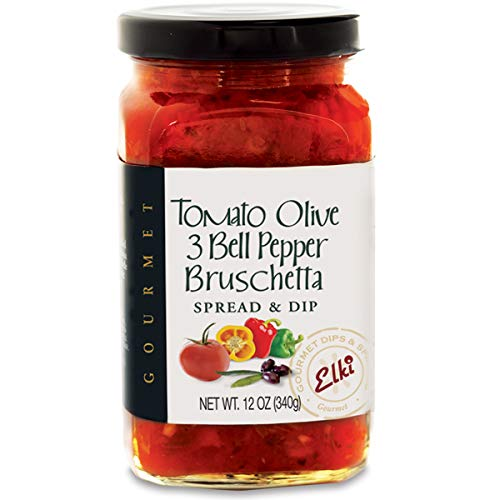 Elki's Gourmet Tomato Olive & 3 Bell Pepper Bruschetta | Delicious Mediterranean Inspired Sandwich Spread | Easy & Quick Appetizer Idea for Parties